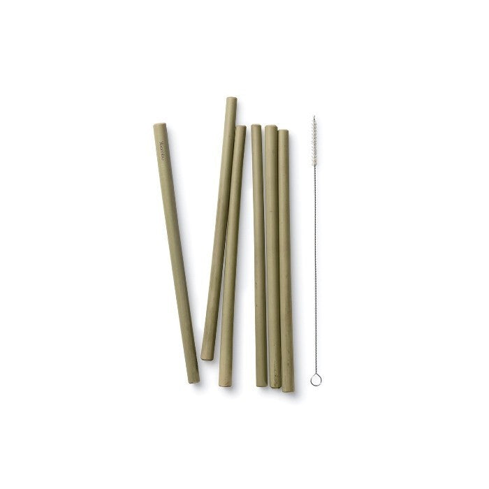 Bambu - Reusable Bamboo Straws - 6 Pack with Brush