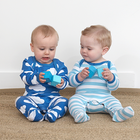 Image of Toby Tiger Cloud Babygrows 2 Pack