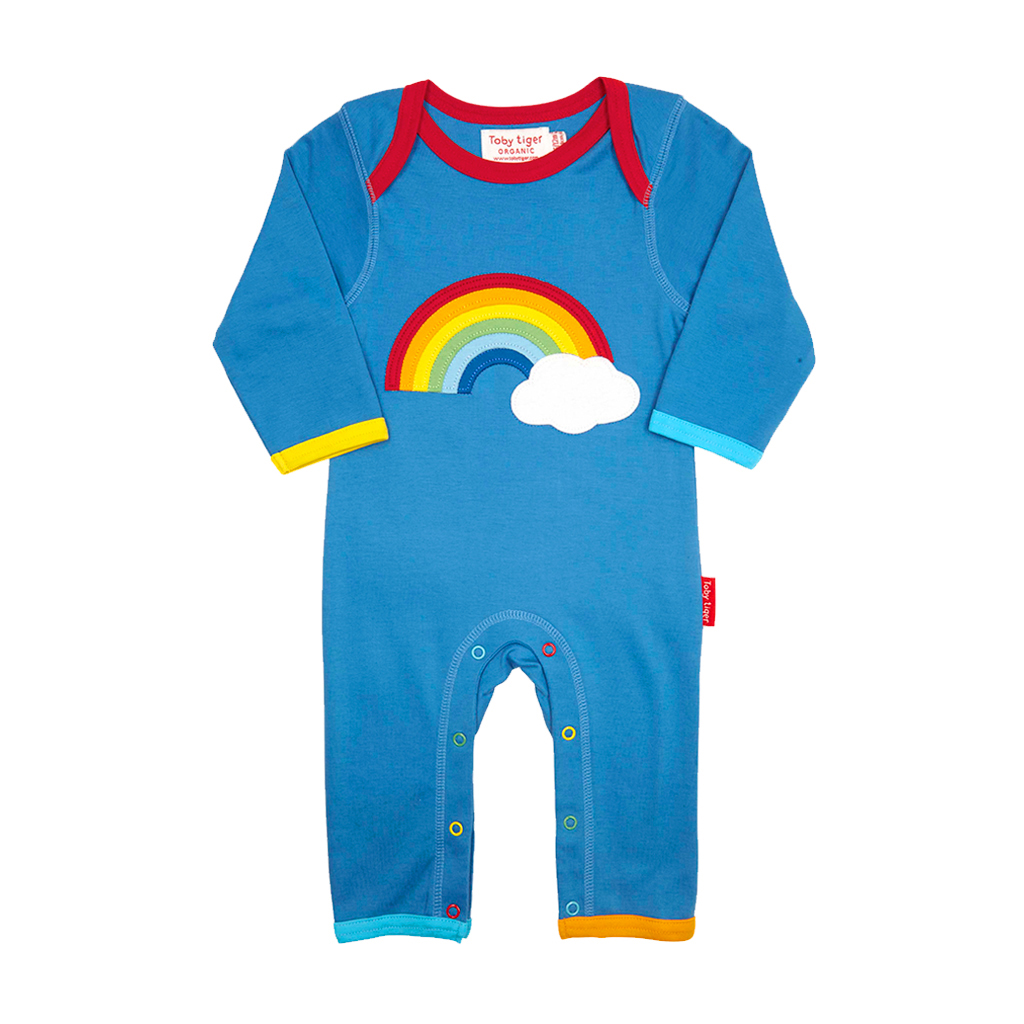 Toby Tiger Rainbow Cloud Sleepsuit