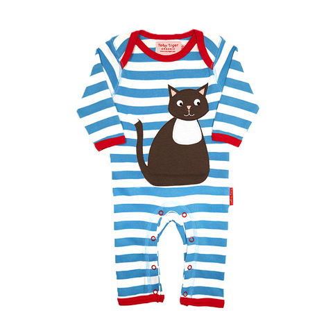 Organic Cotton - Blue Stripe Cat Sleepsuit