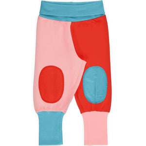Maxomorra Rib Pants - Block Blossom/Poppy/Sky