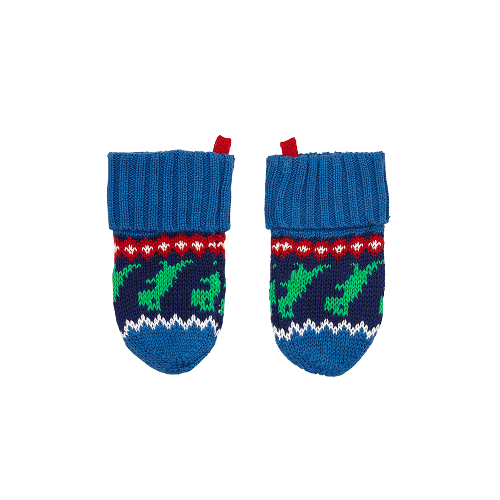 Toby Tiger Dino Knitted Mittens -  Fleece Lined