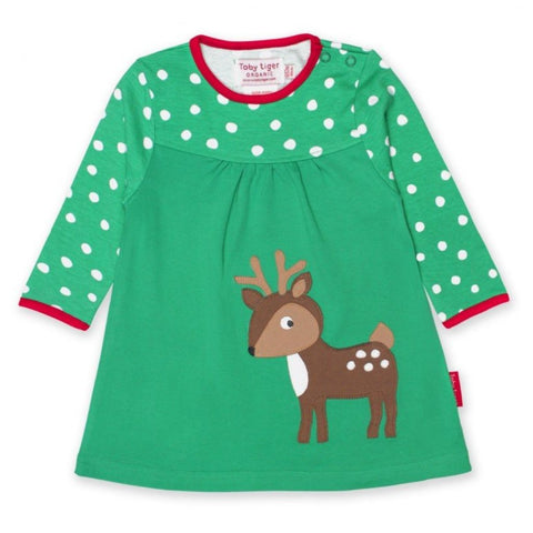 Image of Toby Tiger Deer T-Shirt Dress- Organic Cotton