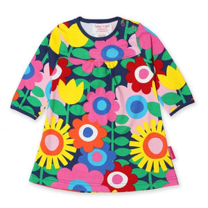 Toby Tiger Flower Power T-Shirt Dress- Organic Cotton