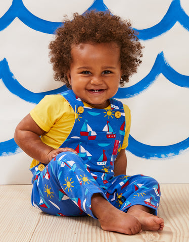Image of Toby Tiger Boat Print Dungarees