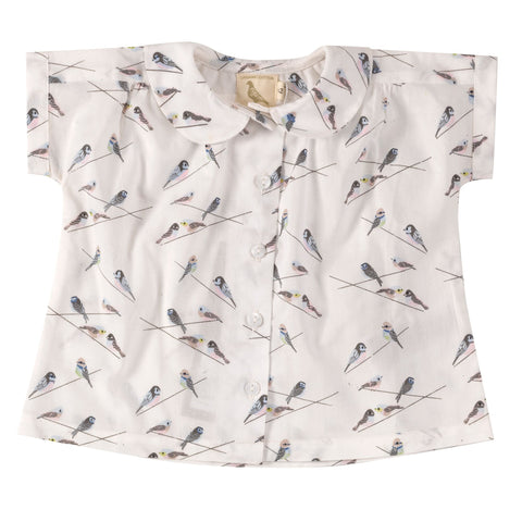 Pigeon Organics Blouse with Peter Pan collar - Birds