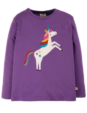 Frugi Discovery Applique Top - Thistle/Unicorn