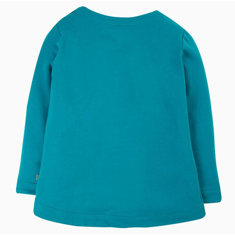 Image of Frugi Alana Cosy Applique Top - Tobermory Teal Hedgehog