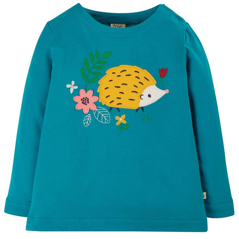 Frugi Alana Cosy Applique Top - Tobermory Teal Hedgehog