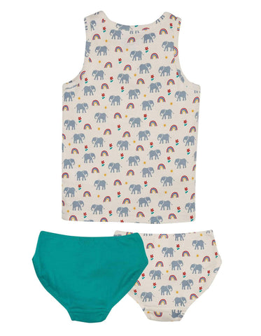 Image of Frugi Vest and Boxer 3 Piece Set - Elephants
