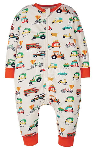 Image of Frugi Summer Zip Babygrow - Soft White Toot Toot