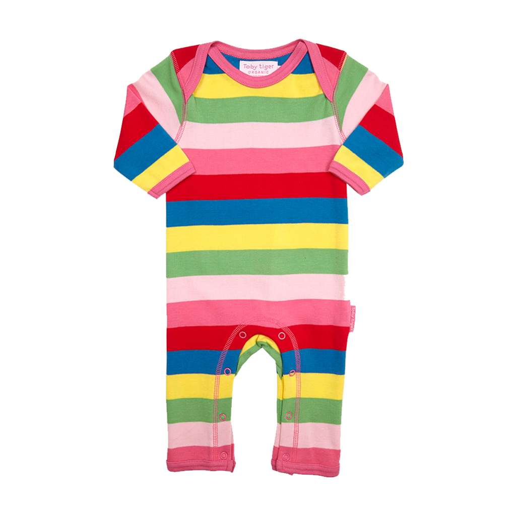 Toby Tiger Organic Cotton - Pink Multi Stripe Sleepsuit