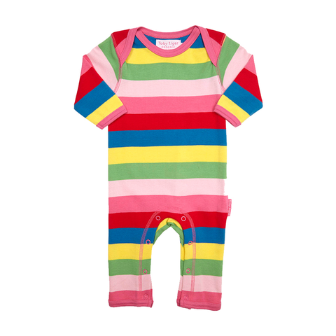 Image of Toby Tiger Organic Cotton - Pink Multi Stripe Sleepsuit
