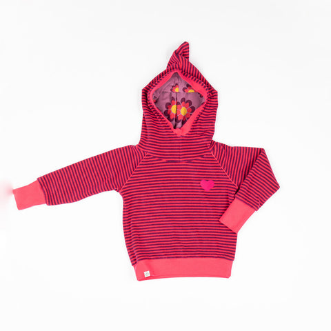 Alba Habian Hood Blouse - Raspberry Magic Stripe