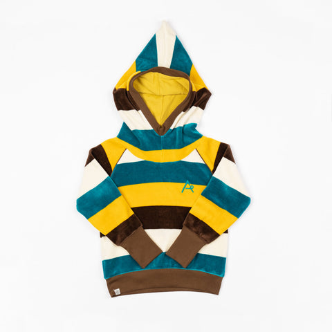 Image of Alba Habian Hooded Top - Turkish Tile Love Stripes