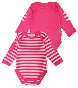 Organic Cotton - Pink Stripe Baby Bodies 2 Pack