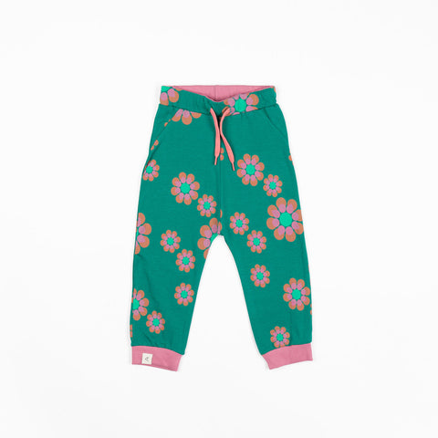 Alba Lucca Baby Pants - Alpine Green Flower Power Love