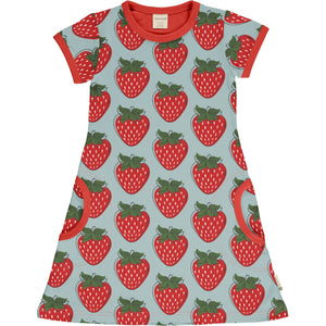 Maxomorra Short Sleeve Dress - Strawberry