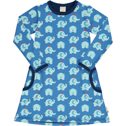 Maxomorra Long Sleeve Dress - Elephant Friends