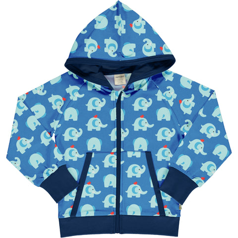 Maxomorra Hooded Cardigan - Elephant Friends