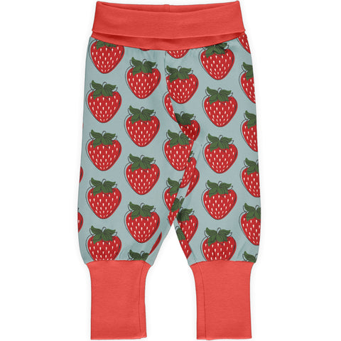 Maxomorra Rib Pants - Strawberry