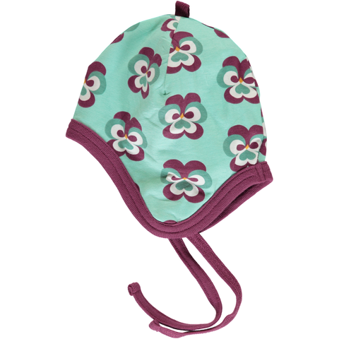 Maxomorra Velour Helmet Hat - Purple Pansy