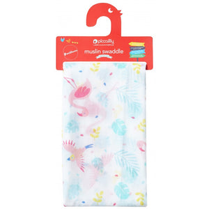 Piccalilly Muslin Swaddle - Pink Flamingo