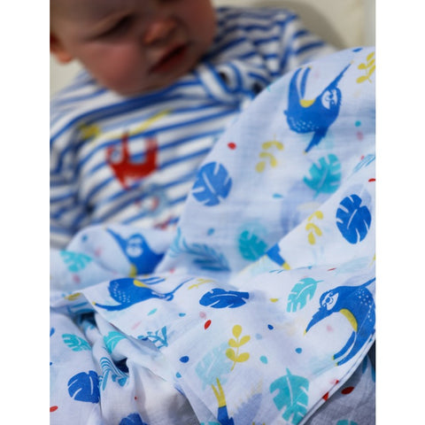 Image of Piccalilly Muslin Swaddle - Blue Parrot