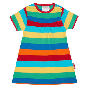 Multi Stripe Short Sleeve T-Shirt Dress - Organic Cotton