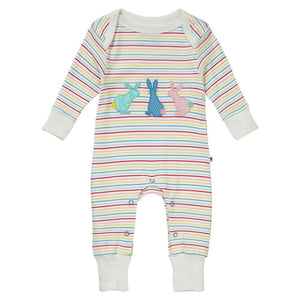 Piccalilly Baby Playsuit - Hopping Bunny - Organic Cotton