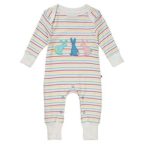 Image of Piccalilly Baby Playsuit - Hopping Bunny