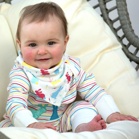 Image of Piccalilly Baby Playsuit - Hopping Bunny - Organic Cotton