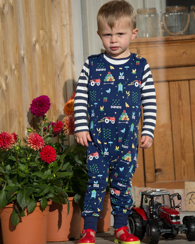 Image of Piccalilly Dungarees - Farm - Organic Cotton