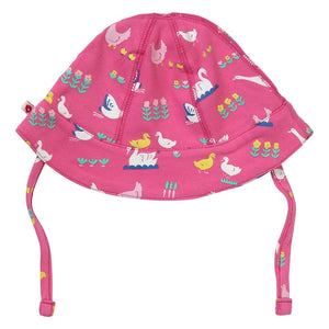 Piccalilly Reversible Baby Sun Hat - Bird Babble
