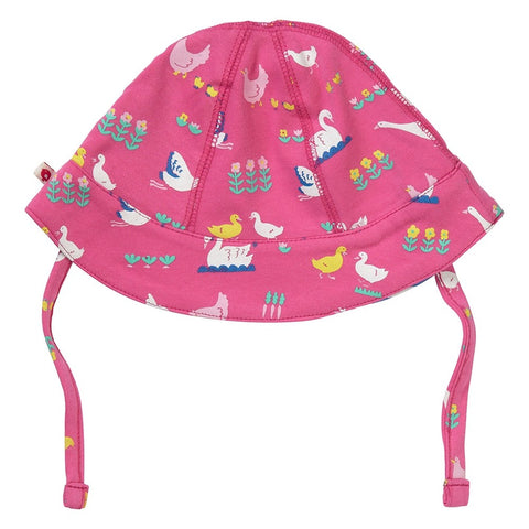 Image of Piccalilly Reversible Baby Sun Hat - Bird Babble