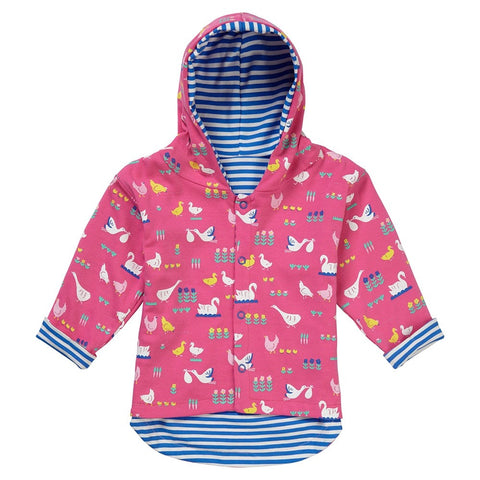 Image of Piccalilly Reversible Hooded Jacket - Bird Babble - Organic Cotton