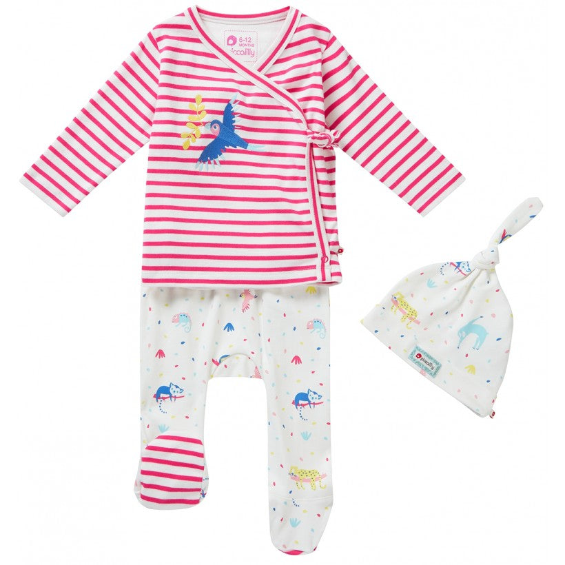 Piccalilly 3 Piece Newborn Baby Girls Clothes Outfit Organic Jersey Pink Stripe