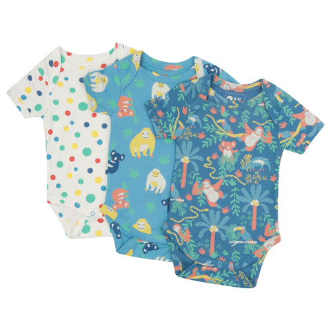 Piccalilly 3 Pack Baby Bodysuits - Rainforest