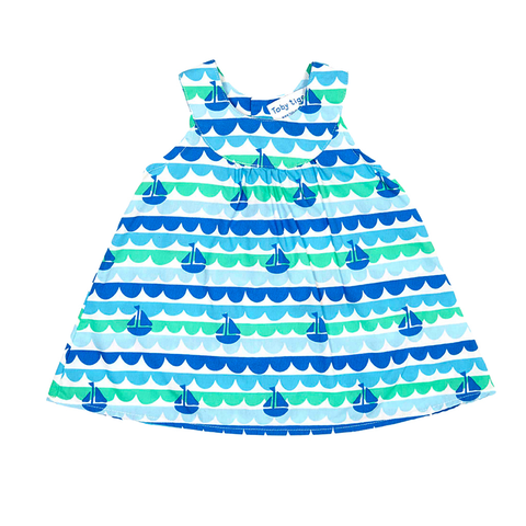 Image of Toby Tiger Boat Baby Dress & Pants Set