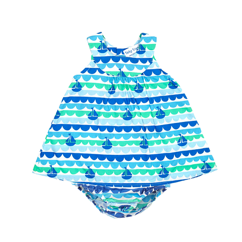 Toby Tiger Boat Baby Dress & Pants Set