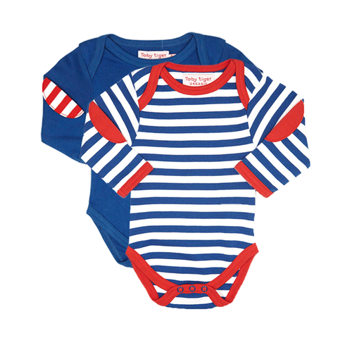 Image of Toby Tiger Breton Stripe Baby Bodies 2 Pack