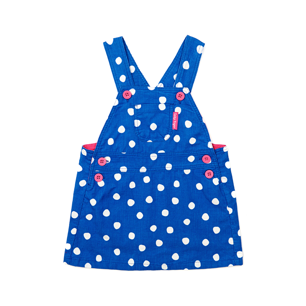 Blue Dot Cord Dungaree Dress by Toby Tiger