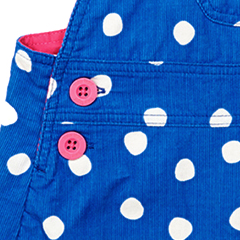Image of Blue Dot Cord Girls Dungaree Dress by Toby Tiger