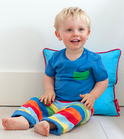 Boy wearing Organic Cotton Blue Multi Stripe Reversible Trousers