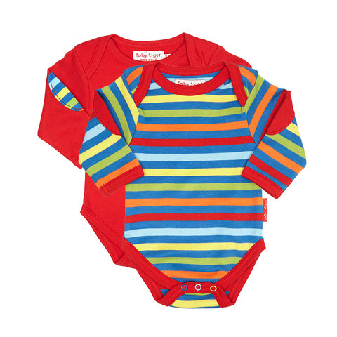 Image of Toby Tiger Bold Stripe Baby Bodies 2 Pack