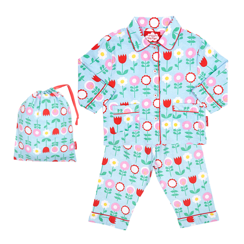 Image of Toby Tiger Brushed Cotton Flower Pyjamas