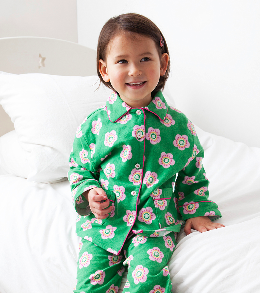 Toby Tiger Brushed Cotton Pea Flower Pyjamas