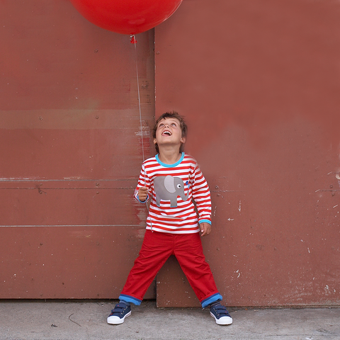 boy wearing red striped childrens organic tshirt with elephant picture