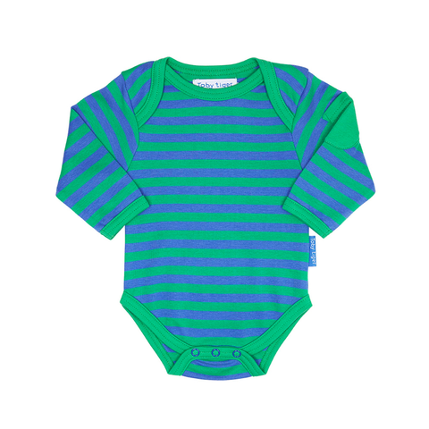 Green Stripe Baby Bodies 2 Pack - Organic Cotton