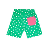 Image of Green And White Dot Shorts - Organic Cotton